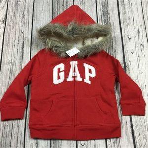 Gap Girls 3T Red Faux Fur Zip-Up Hoodie Jacket